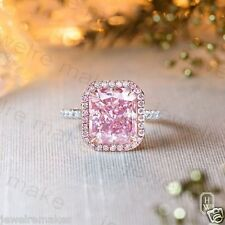 Pink Emerald & White Diamond Solitaire Engagement & Wedding Sterling Silver Ring