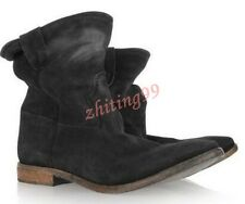 Vintage Womens Ankle Boots Suede Pull On Roma Slouch Leather Casual Flat Shoes