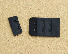 "1 Set Black 2 Hook and Eye Bra Back Closures 1.5"" x 2"" Bra Making"