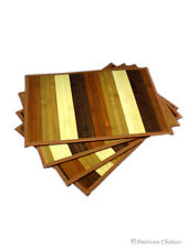 Set 4 Piece Kitchen Colorful Table Slat Bamboo Placemats 12X18 Place Mats