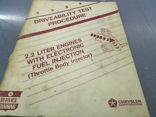 Chrysler Corporation 2.2 Liter Engines Driveability Test Procedure FREE Shipping