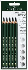 Faber Castell 9000 Jumbo Graphite Pencils 5.3mm Extra Thick Lead HB 2B 4B 6B 8B