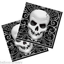 16 cráneo gótico Terror Fiesta De Halloween 33cm Desechables las servilletas de papel