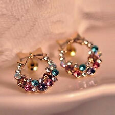 Wholesale Lots Fashion Colorful Crystal Rhinestone Gold Bowknot Ear Stud Earring