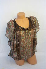 Blouse DOLLED UP BY FANG Brown Floral Chiffon Blouse SZ S NEW NWT