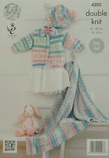 KNITTING PATTERN Baby Easy Knit Blanket Jacket and Beret DK King Cole 4202