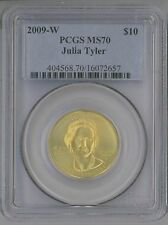 2009-W $10 GOLD COMMEMORATIVE FIRST SPOUSE JULIA TYLER PCGS MS70 1/2 OZ PURE. !!