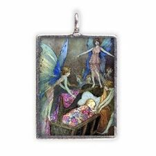Enchanted Fairies with Baby, Enameled Pendant on Cord Necklace #HC-EF156