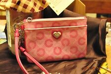 Coach Pink Leather Waverly Heart Wristlet Small
