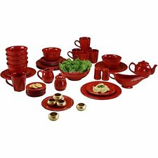Red Beaded Dinnerware Set Kitchen Banquet 45 Piece Round Plates Cups 6 Person