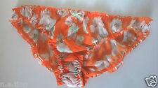 "Orange Low Rise Chiffon Ruffle Bikini Panties Frilly Knickers L 42-44"" Hips*"