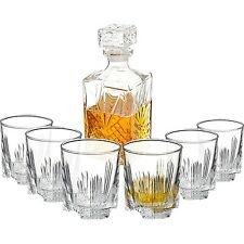 Glass Decanter Set Brandy Whiskey Lead Free 6 Scotch Glass Bourbon Liquor Carafe