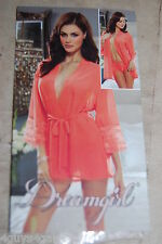 Womens Sexy Lingerie BRIGHT CORAL ORANGE SHEER ROBE & PANTY Dreamgirl XL 16-18
