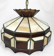 Brown & Cream Stained Glass Tiffany Style Hanging Swag Pool Table Lamp Light