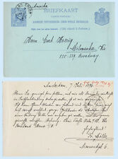 Netherlands 1896 Postal Stationery Card Amsterdam to Milwaukee WI USA H&G 19
