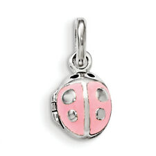 .925 Sterling Silver Polished Pink Enamel Dangle Ladybug Children's Locket