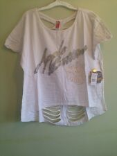 NWT APPLE BOTTOM Top Blouse White Embellished SHIRT Plus Size 1x Cotton Msrp $48