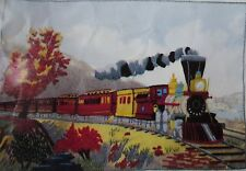 rare 1975 AMERICAN EXPRESS TRAIN PICTURE crewel embroidery kit CURRIER & IVES