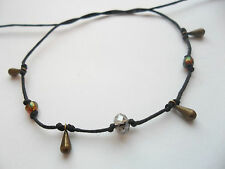 Black string anklet bronze droplets glass & crystal bead karmastring karma ankle