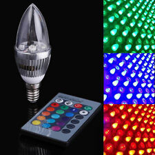 E14 3W RGB LED 16 Color Changing Candle Light Lamp Bulb + Remote Control NEW