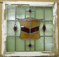 "OLD ENGLISH LEADED STAINED GLASS WINDOW Stunning Crest & Diamonds 22.5"" x 22.25"""
