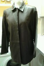 MARKS & SPENCERS UK 14 LADIES SOFT LEATHER JACKET BROWN EX CONDITION.