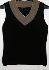 NWT AKRIS Knitted Stretch SILK Tank Top in Black w Beige V Neck Sz 8 $700