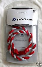NEW PHITEN TORNADO NECKLACE 18 INCH RED AND WHITE TITANIUM SPORTS BASEBALL ROPE