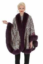 Purple Paisley Cashmere Fox Fur Cape for Women - Purple Fox Trim