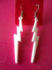 White Lightening Bolt Dangle Earrings 2 1/4 Inches Long