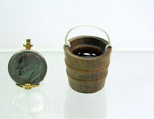 Dollhouse Miniature or Fairy Garden Wood Bucket or Pail of Water w/ Rope Handle