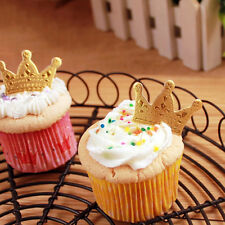 50X Gold Crown Cupcake Toppers,Wedding Picks,Party Picks,Food Pick Useful SK