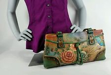 Gorgeous ANUSCHKA Butterfly Rose GENUINE LEATHER Satchel Shoulder Hand Bag Purse