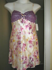 New Satin Ivory Nightgown Large Sexy Purple Lace Bust NWT