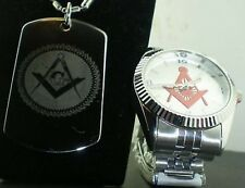 FATHERS DAY DEAL MASONIC MASON G SILVER RED LOGO WATCH 2 side engraved DOG TAG