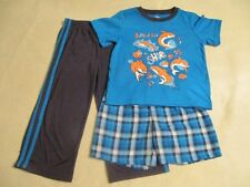 """CARTER'S"" BOYS 3 PIECE PAJAMAS IN A SHARK THEME-DONE IN COLORS OF BLUE-SIZE 4"