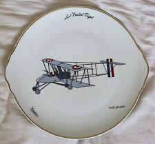 (B) Rare : Marcel JEANJEAN plat + 12 assiettes : Voisin,Bréguet, Blériot,Caudron