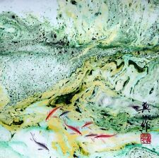 "Chinese painting Fish watercolor brush ink contemporary abstract 16x16"" art"