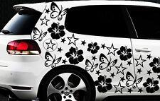114x Auto Aufkleber Sterne Star Hibiskus Blum o Schmetterlinge HAWAII WANDTATTOO