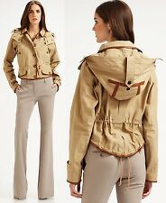 $1,995 RUNWAY Burberry Prorsum 10 12 44 Leather Trim Cotton Hoodie Jacket Women