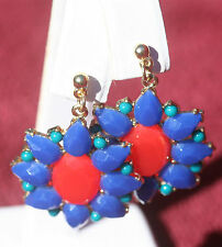 Chunky Blue, Red & Turquoise Stone Mixed Shape Earrings