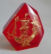 Portugal Gold Pirate Man of War Ship Encased in Lucite Paperweight Decor