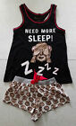 BNWT PRIMARK LADIES MONKEY EMOJI VEST T SHIRT & SHORTS PYJAMAS SET PJ'S