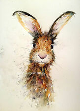 HARE PRINT ORIGINAL WATERCOLOUR BY NANCY ANTONI ART A4 Bockingford Paper