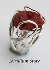 Natural Red Coral Ring with hand carved. adjustable. sterling silver Size 8.5