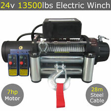 24V 13500LBS Electric Winch 28M Steel Cable Wireless 4WD 13000LBS 12000LBS