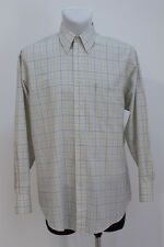 MENS BEN SHERMAN CASUAL SHIRT LONG SLEEVED IVORY CHECKED SIZE L LARGE EXCELLENT