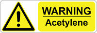 300 x 100 mm  WARNING - ACETYLENE health & safety signs/stickers