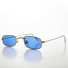 Blue Lens Gold Metal Rectangular Hippy Spectacle Vintage Sunglasses - HULU