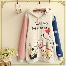 Japanese Mori Kawaii Girl Cute Hat Sweater Shirt rabbit printing Tail Hoodie